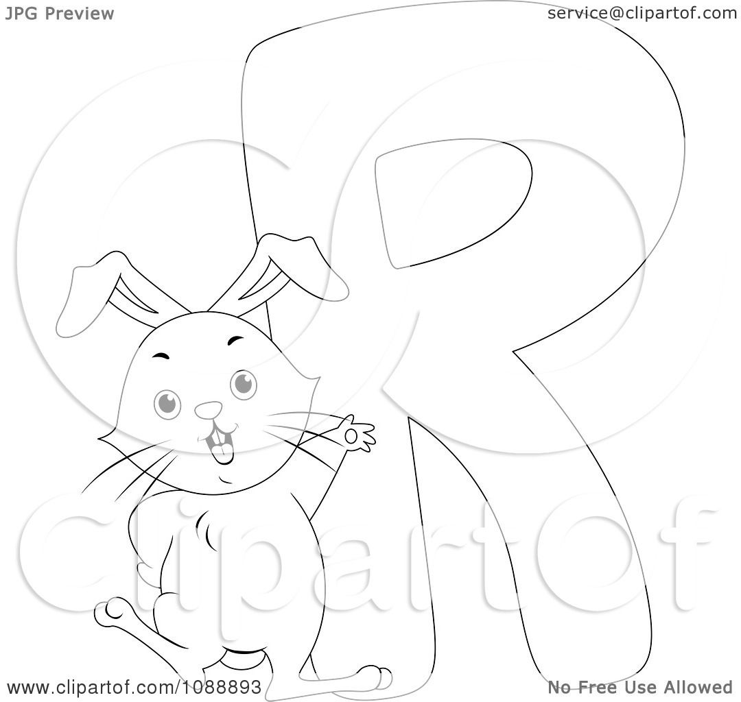 Clipart Outlined R Is For Rabbit Coloring Page