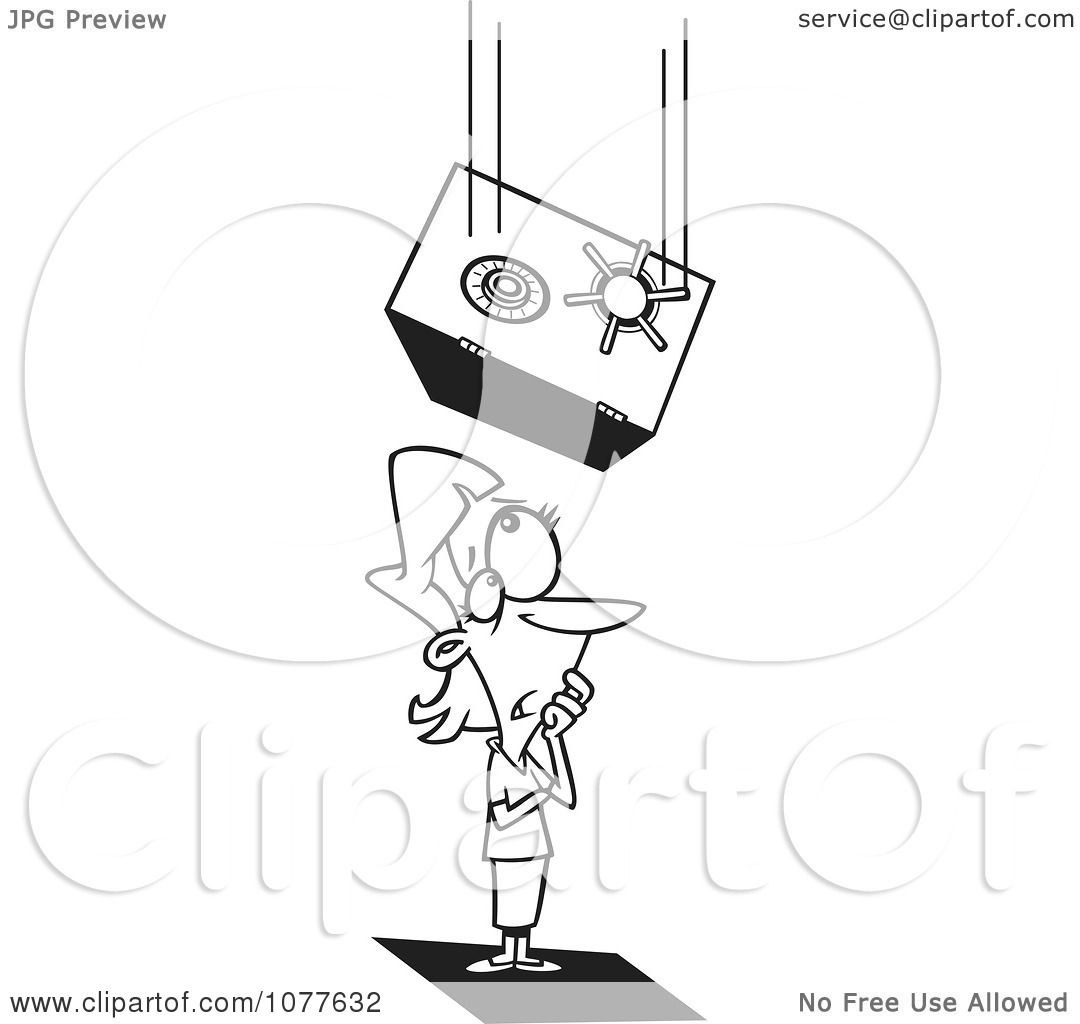 Clipart Outlined Safe Falling On An Unlucky Businesswoman