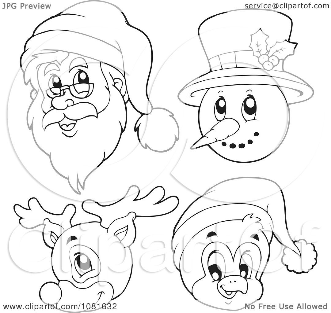 Clipart Outlined Santa Snowman Reindeer And Penguin Faces