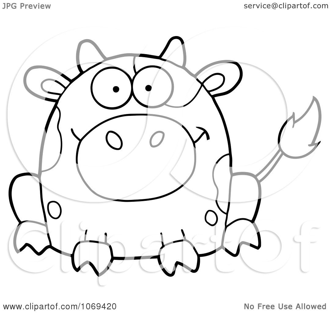 Clipart Outlined Sitting Cow