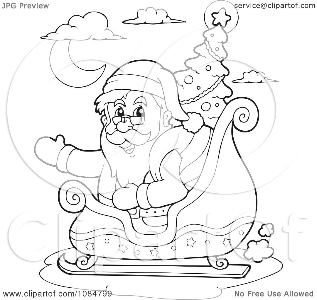 Clipart Outlined Waving Santa In His Sleigh With A