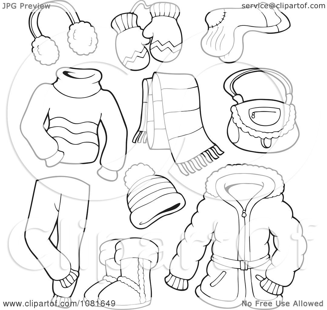 Clipart Outlined Winter Clothing And Accessories