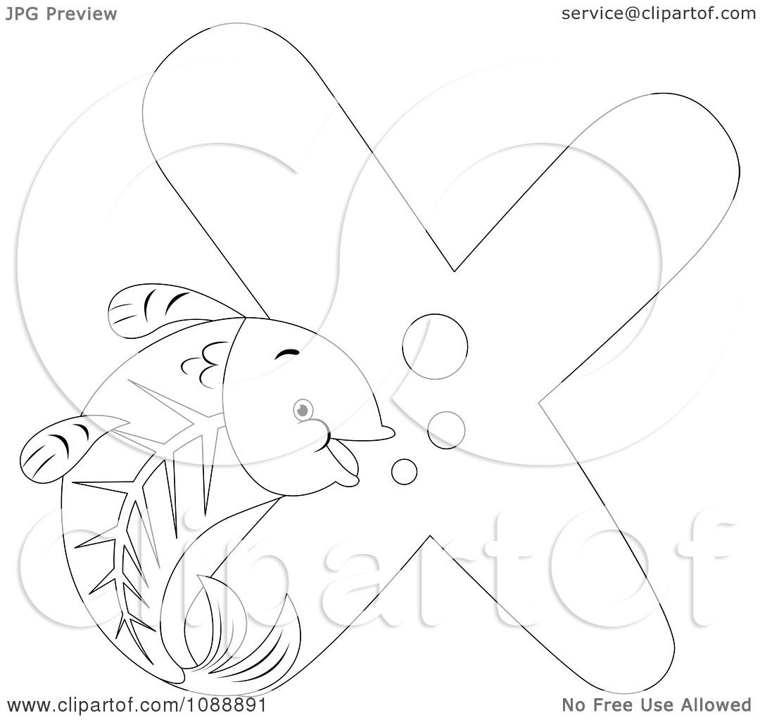 Clipart Outlined X Is For X Ray Fish Coloring Page
