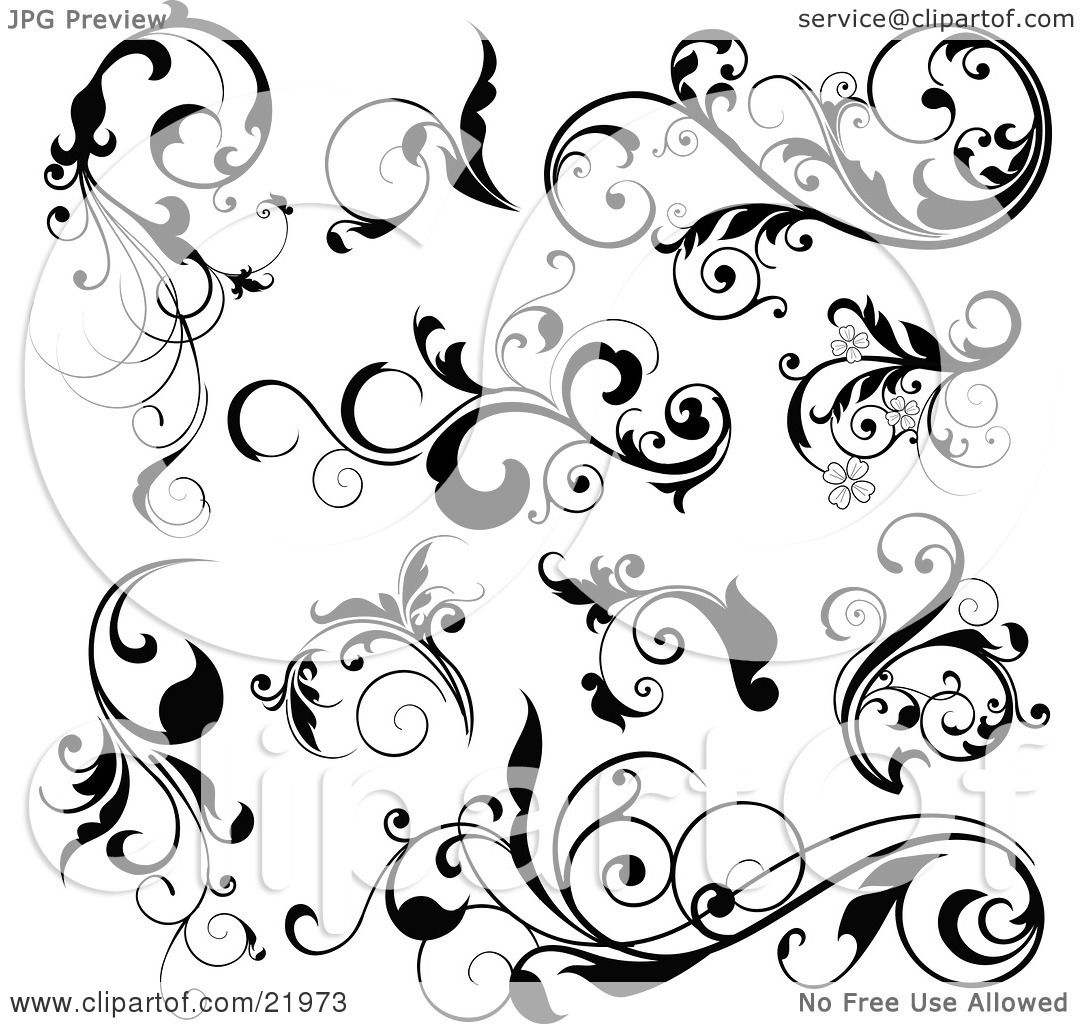 Clipart Picture Illustration Of A Collection Of Black