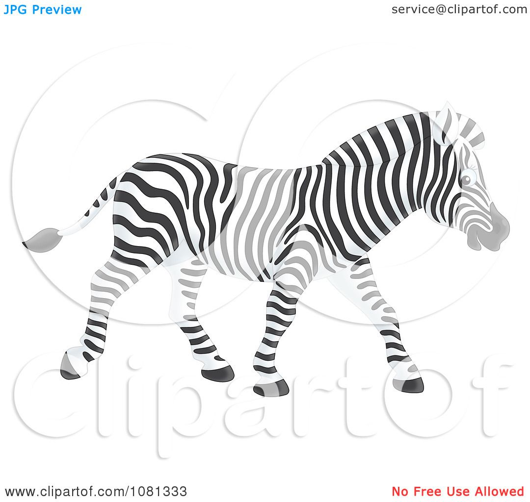 Clipart Profiled Zebra Walking