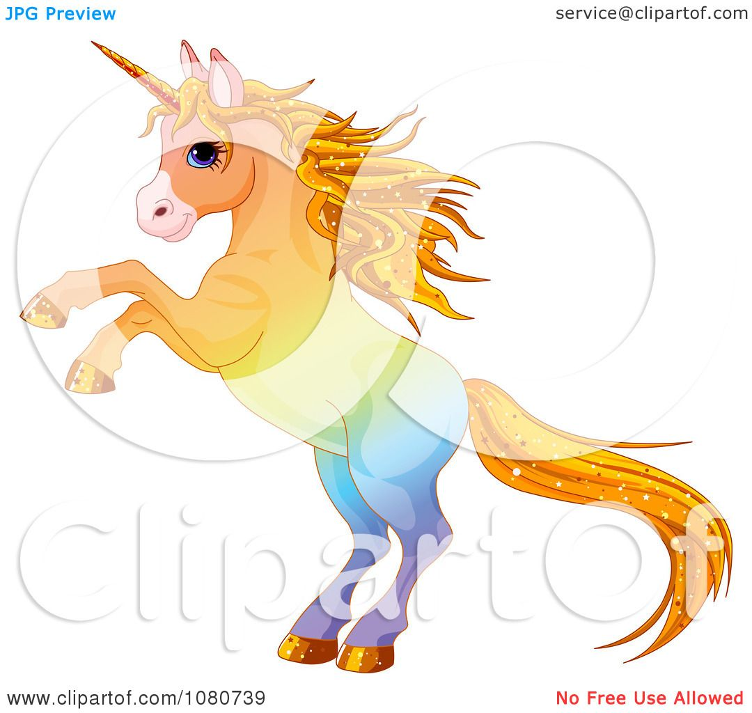 clipart rearing colorful unicorn with sparkly hair royalty free