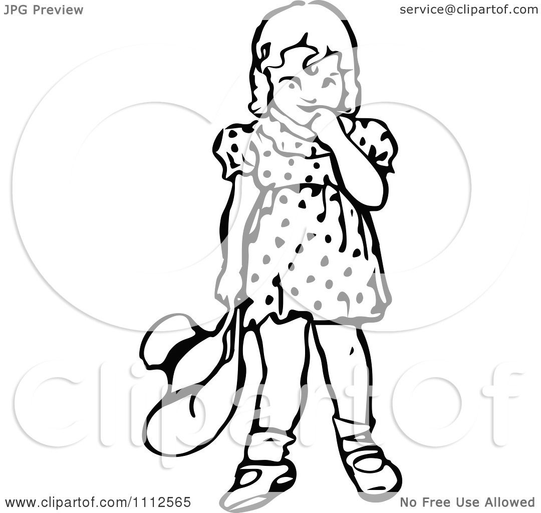 Clipart Retro Black And White Bashful Girl Holding A Hat