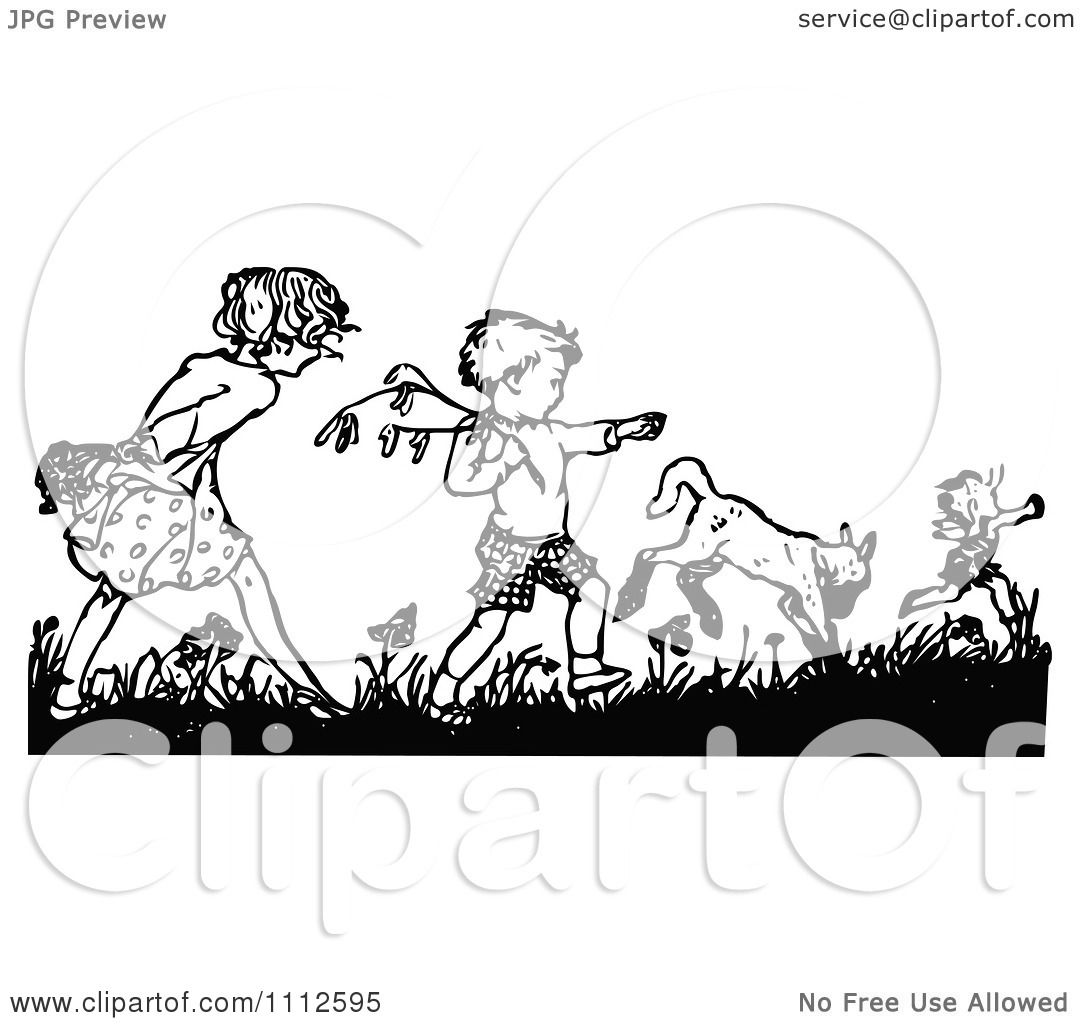 Clipart Retro Black And White Boy And Girl Picking Flowers