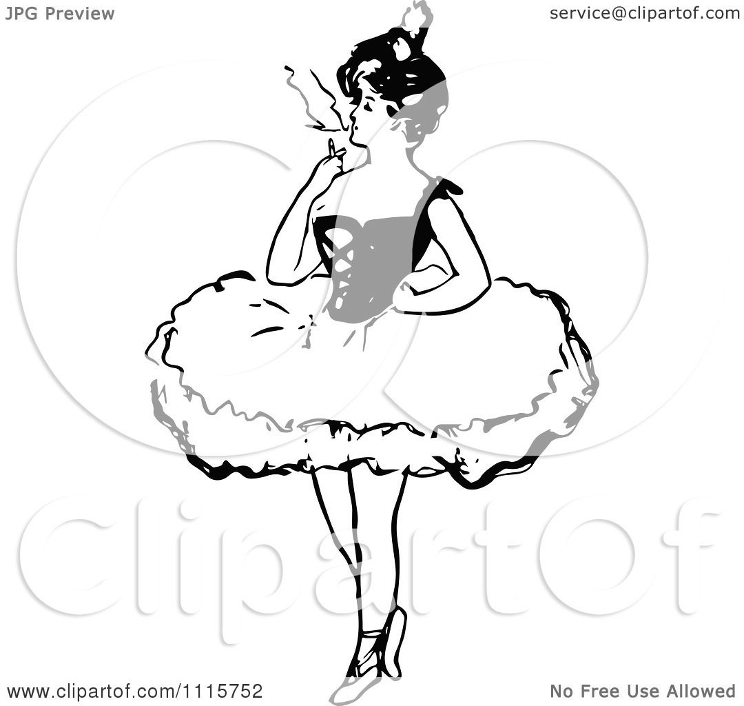 Clipart Retro Vintage Black And White Ballerina Smoking A