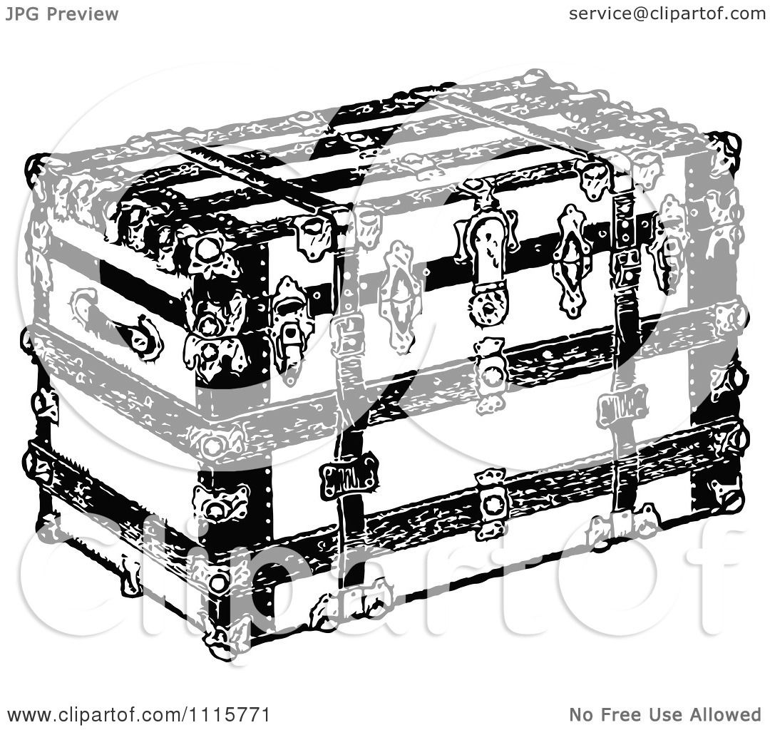 Clipart Retro Vintage Black And White Luggage Trunk