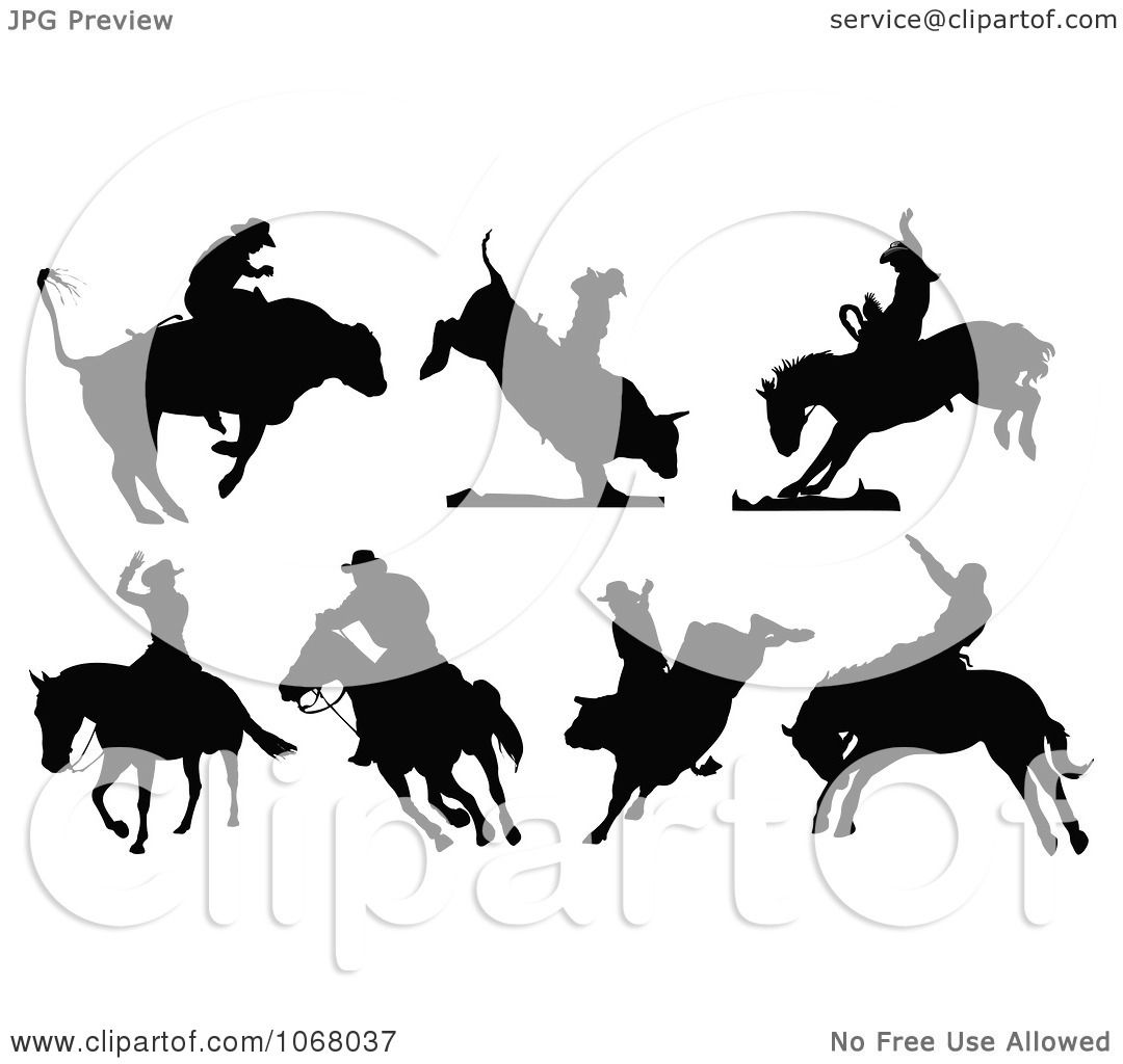 Clipart Silhouetted Rodeo Cowboys