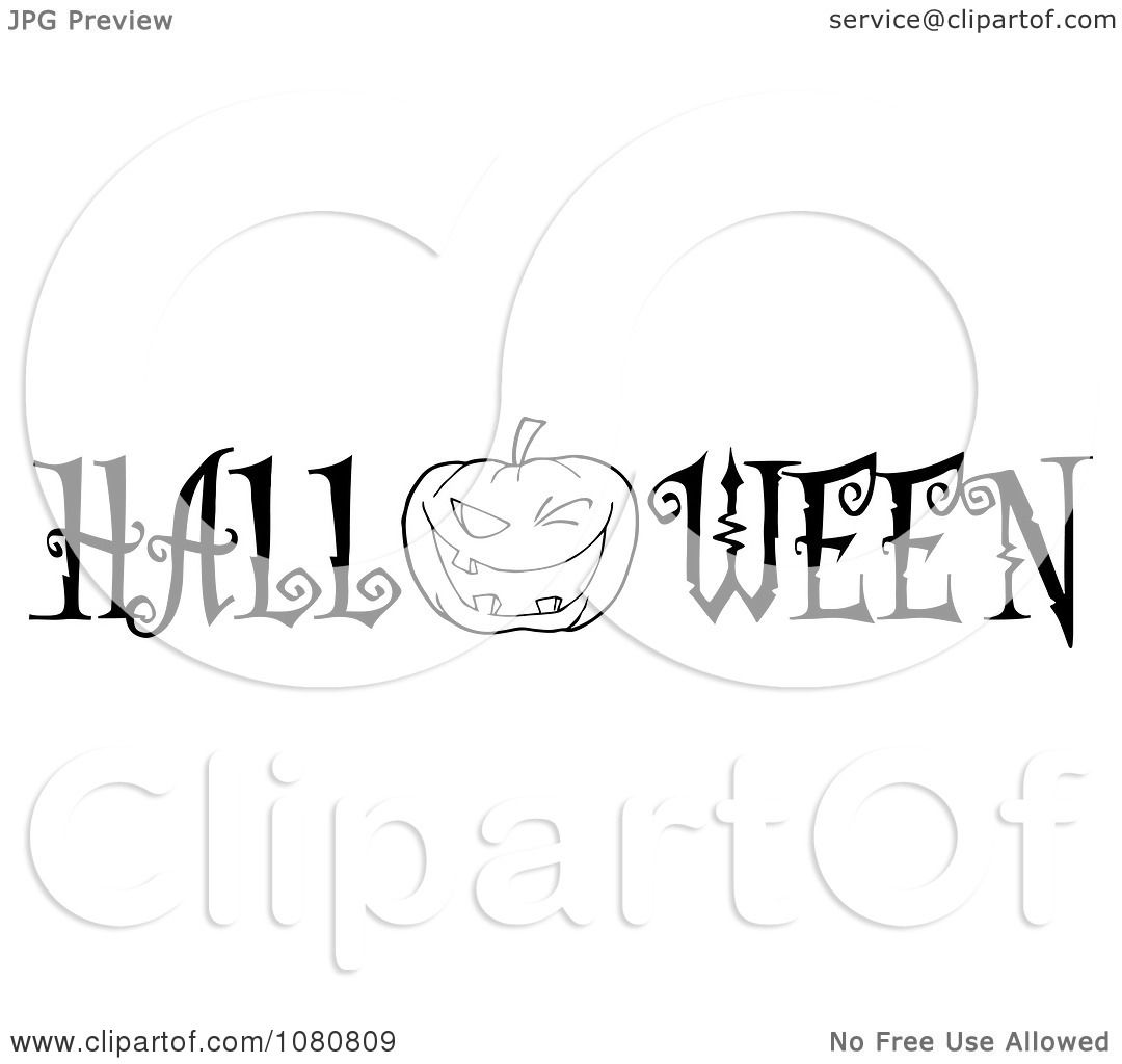 Clipart The Black And White Word Halloween With A