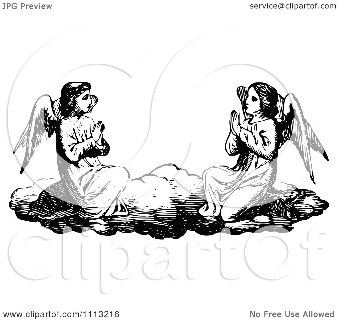 Clipart Vintage Black And White Angels Praying On A Cloud