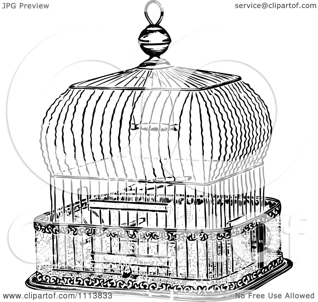Clipart Vintage Black And White Antique Bird Cage 2