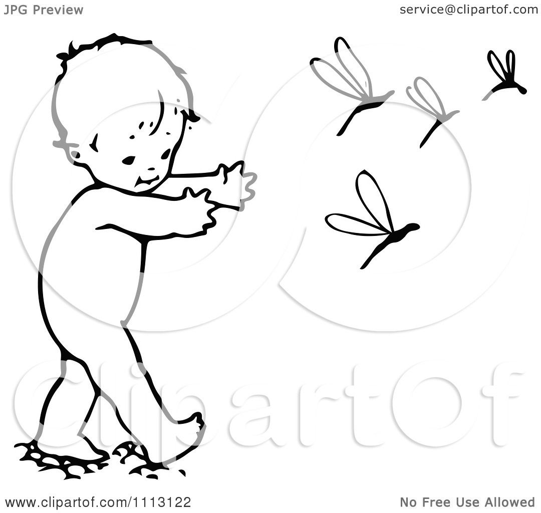 Clipart Vintage Black And White Baby Chasing Dragonflies