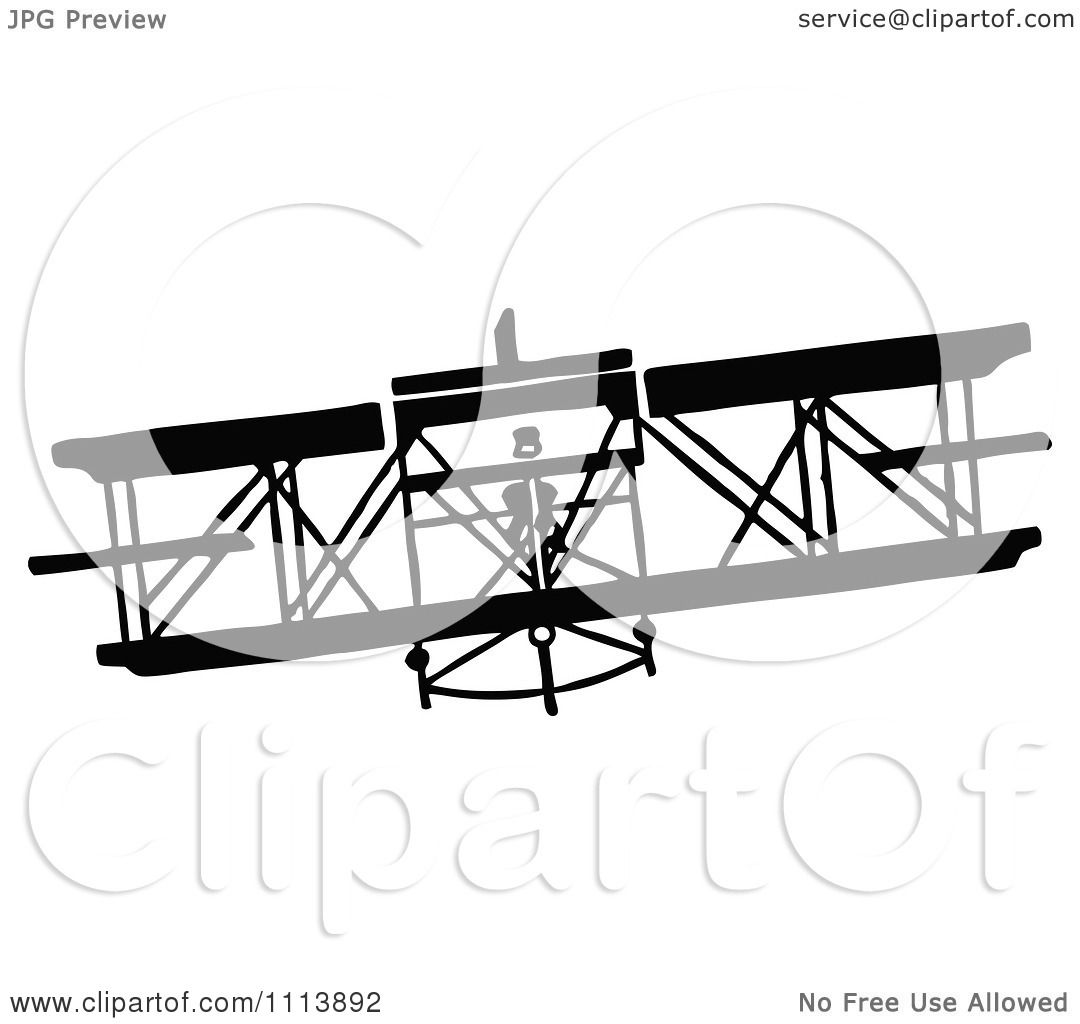 Clipart Vintage Black And White Biplane