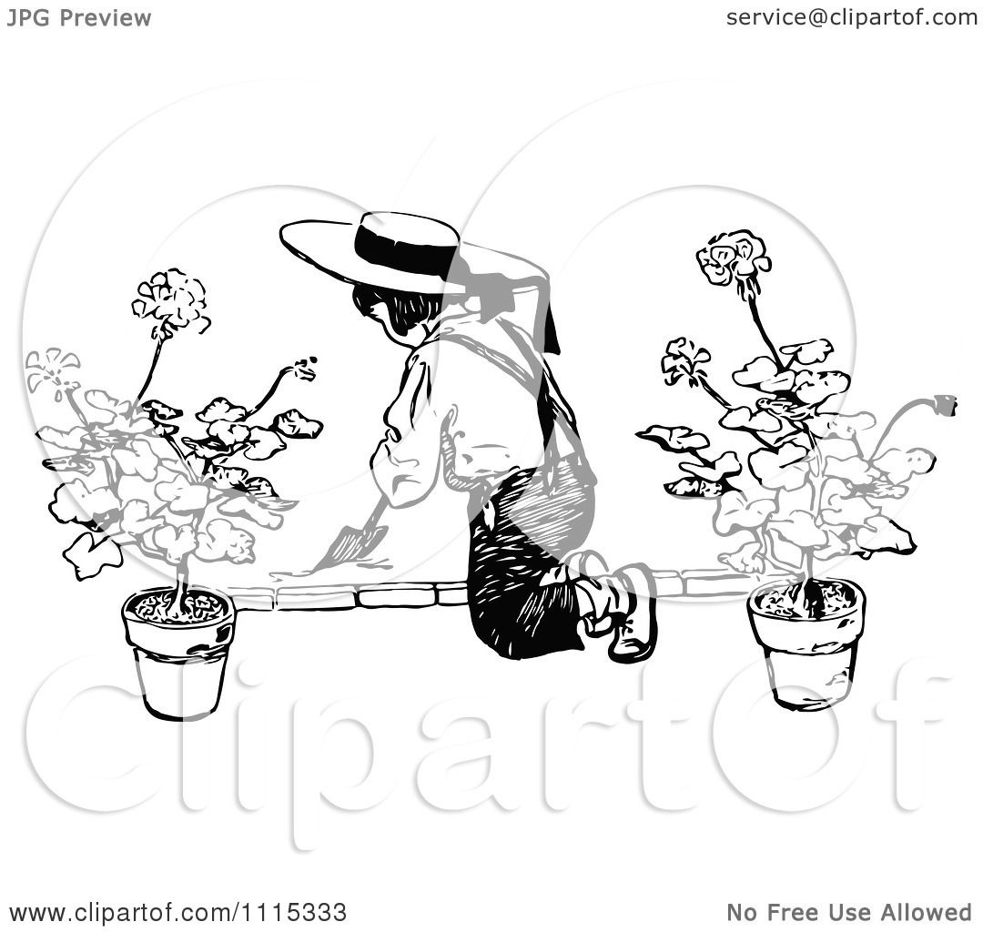 Clipart Vintage Black And White Boy Digging In A Garden