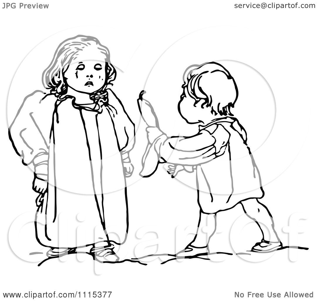 Clipart Vintage Black And White Brother Trying To Stop His