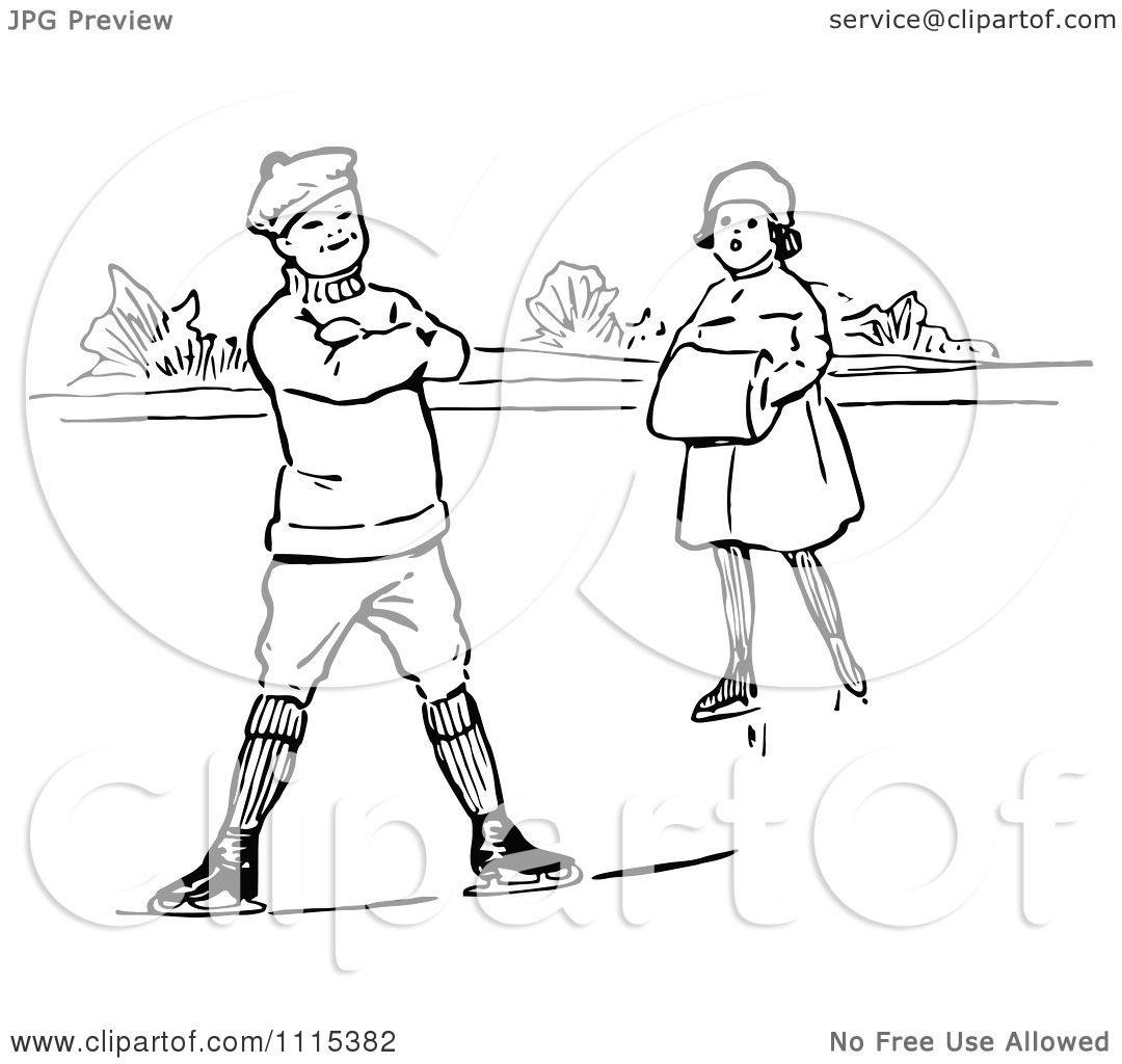 Clipart Vintage Black And White Children Ice Skating