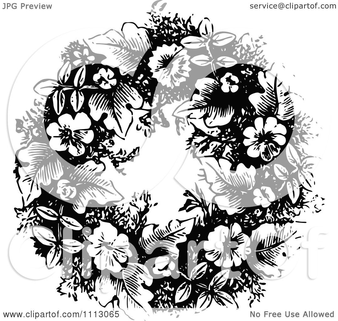 Clipart Vintage Black And White Floral Wreath