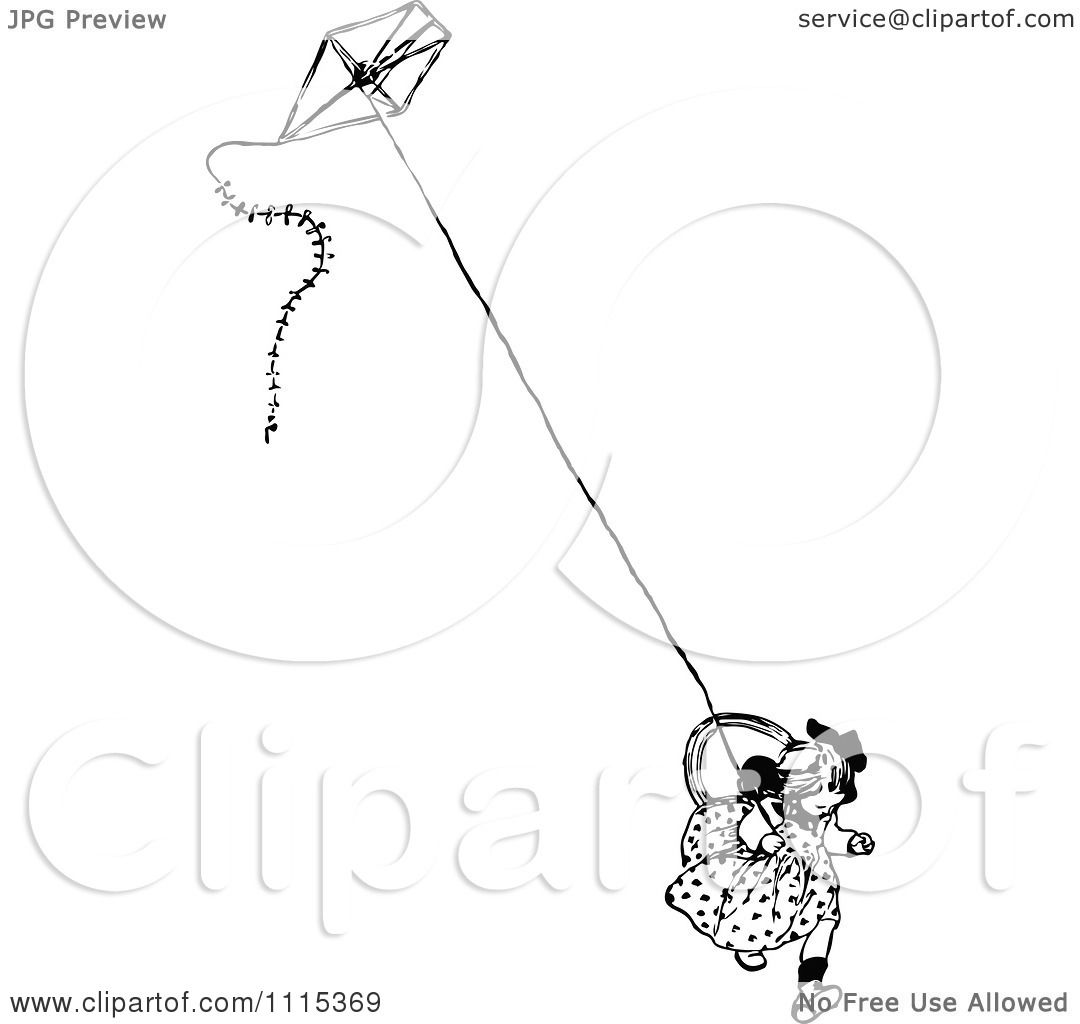 Clipart Vintage Black And White Girl Running With A Kite