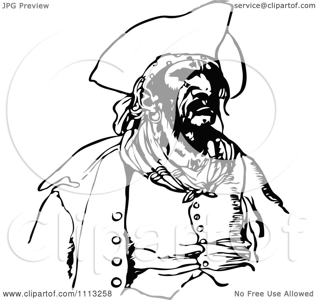 Clipart Vintage Black And White Male Pirate 1