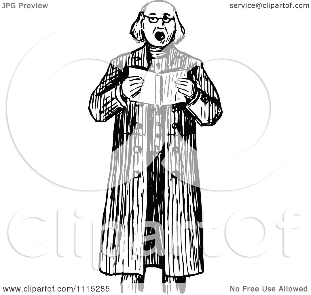 Clipart Vintage Black And White Man Making An Announcement
