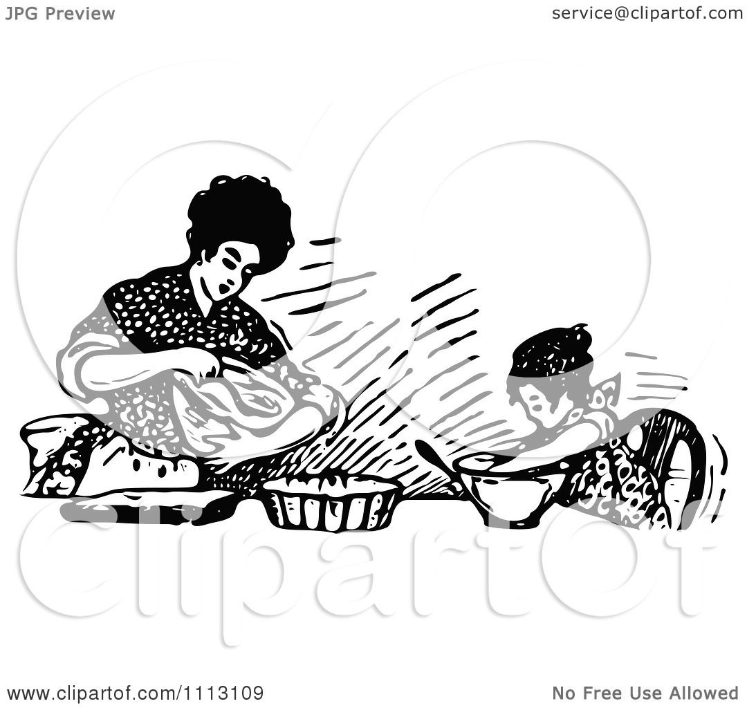 Clipart Vintage Black And White Mother Baking With Her