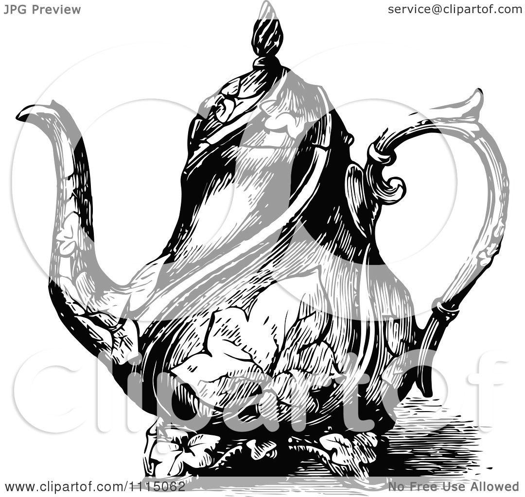 Clipart Vintage Black And White Ornate Tea Pot 3