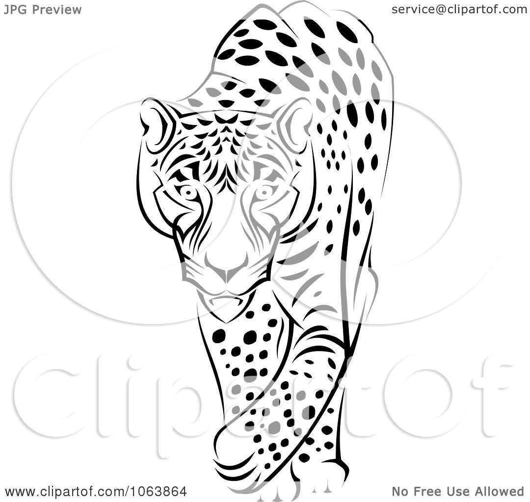Clipart Walking Jaguar Black And White