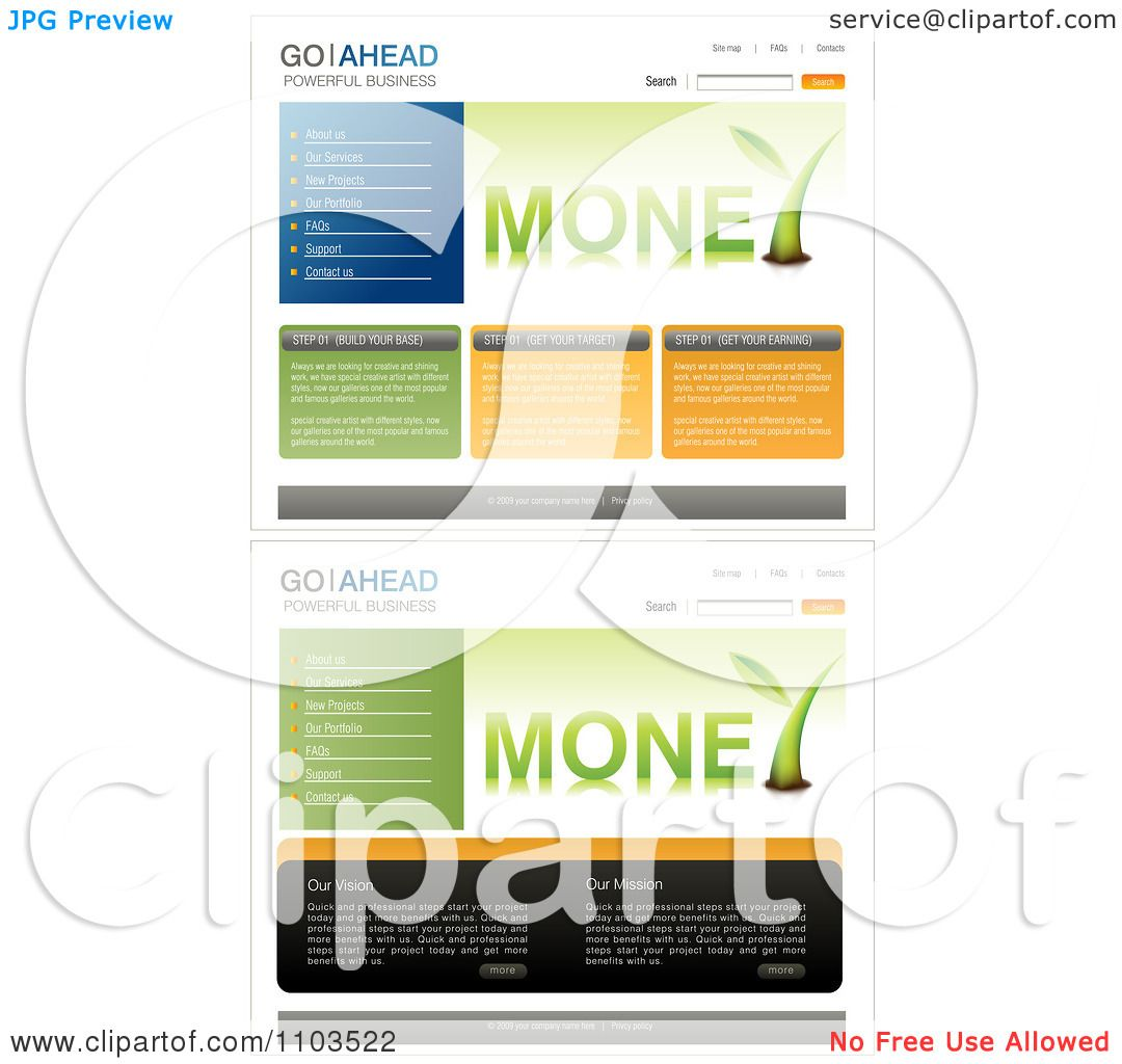 Free Navigation Bar Templates  templates with money plants and