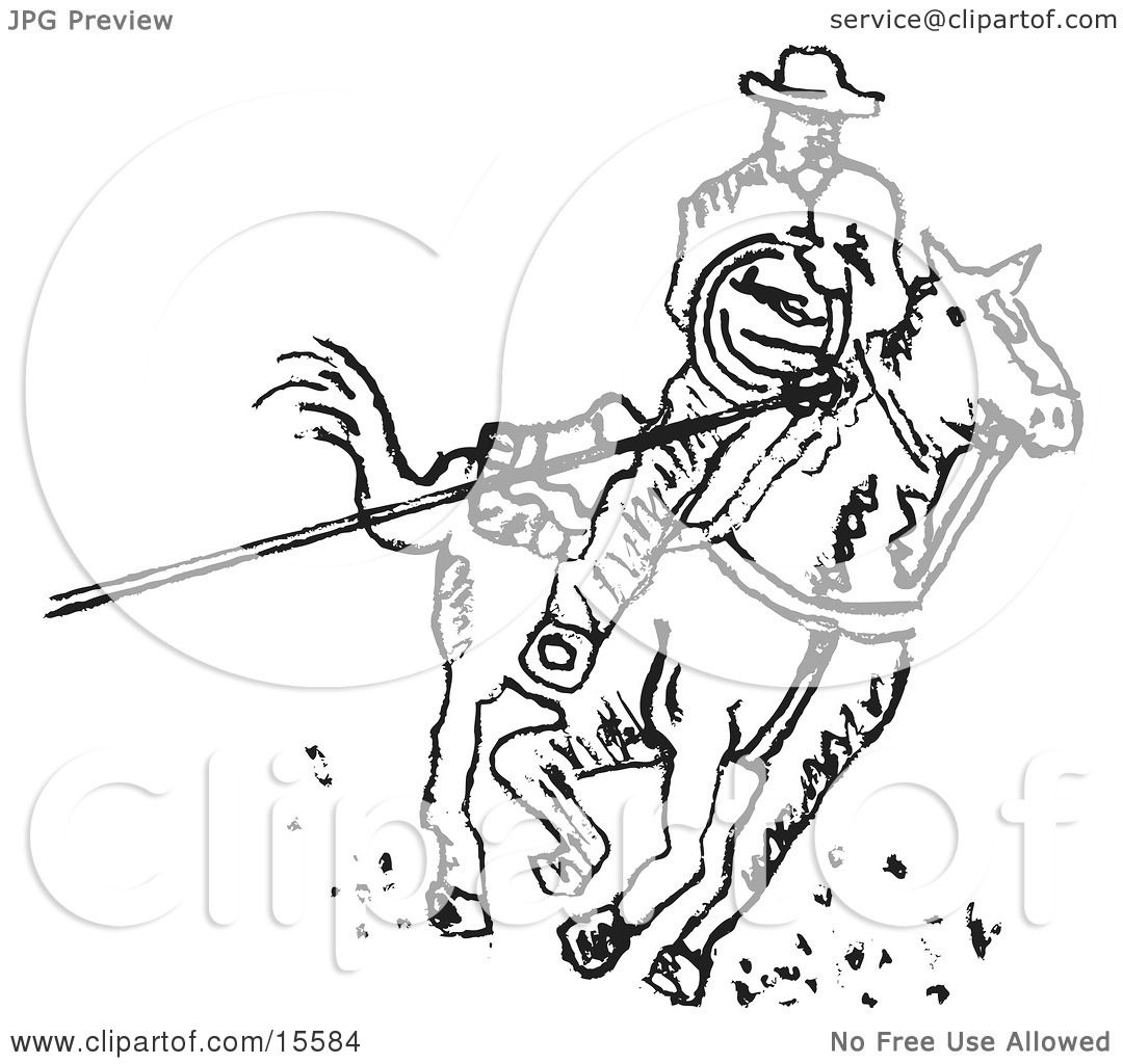 Cowboy On Horseback Roping Something With A Lasso Clipart