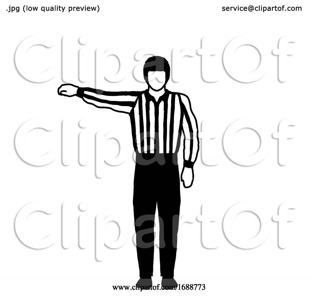 Ice Hockey Official Or Referee Hand Signal Drawing Black