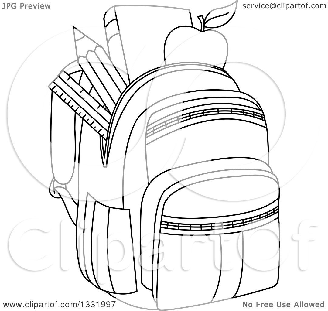 Lineart Clipart Of A Black And White Backpack Stuffed With