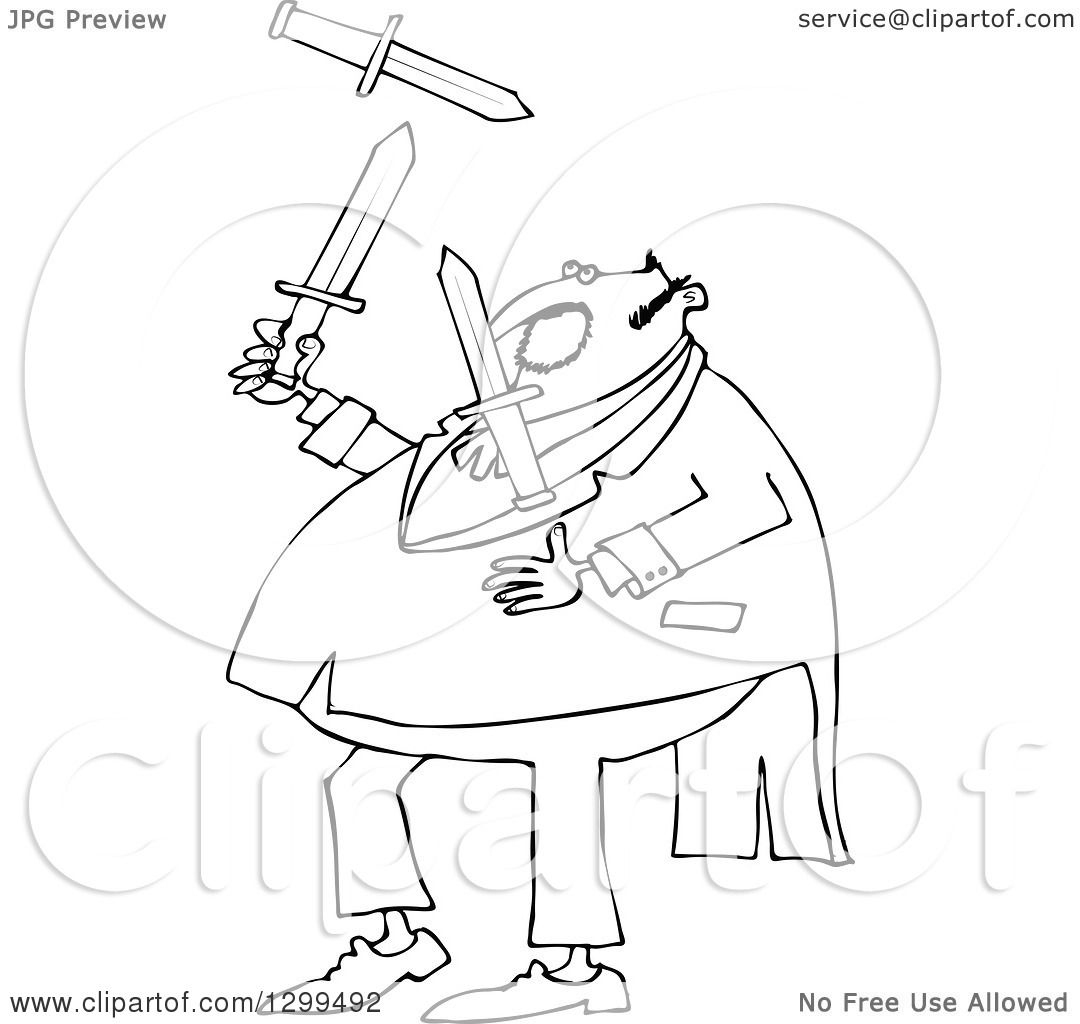 Lineart Clipart Of A Black And White Chubby Man In A