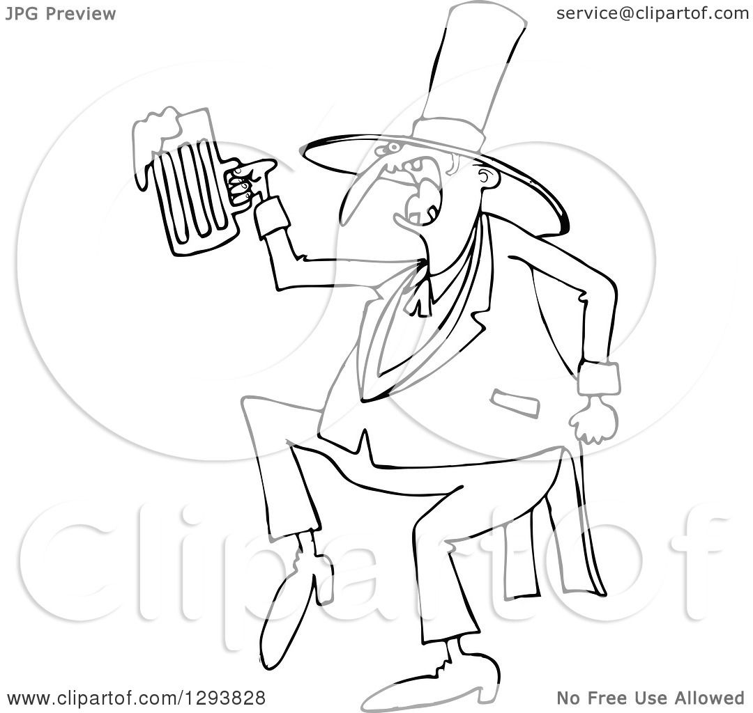 Lineart Clipart Of A Black And White Drunk St Patricks Day Leprechaun Dancing With Beer