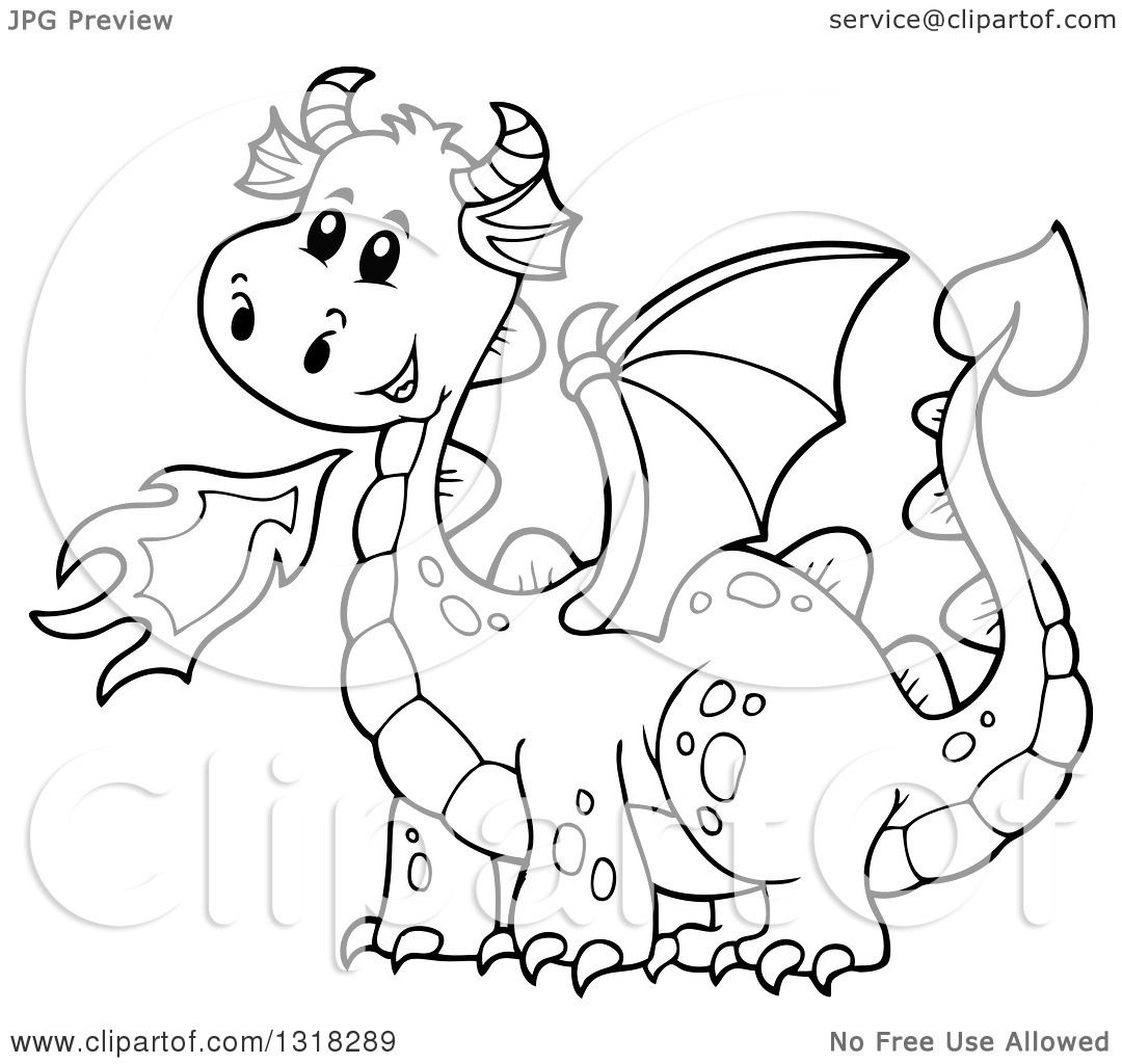 Lineart Clipart Of A Black And White Fire Breathing Dragon