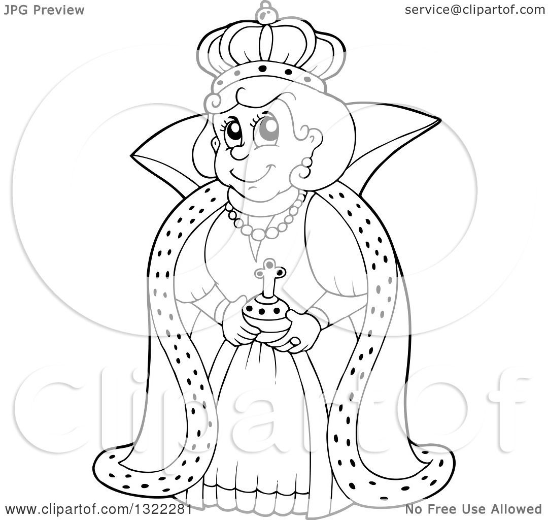 Lineart Clipart Of A Black And White Happy Queen In A Robe