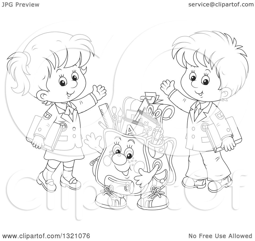 Lineart Clipart Of A Cartoon Black And White Backpack Character And Waving School Children In