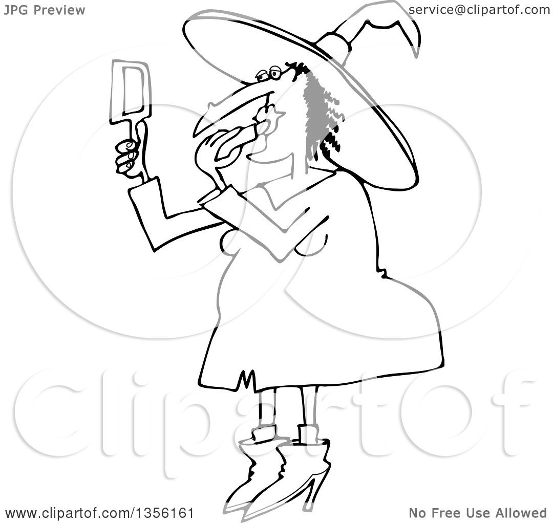 Lineart Clipart Of A Cartoon Black And White Chubby