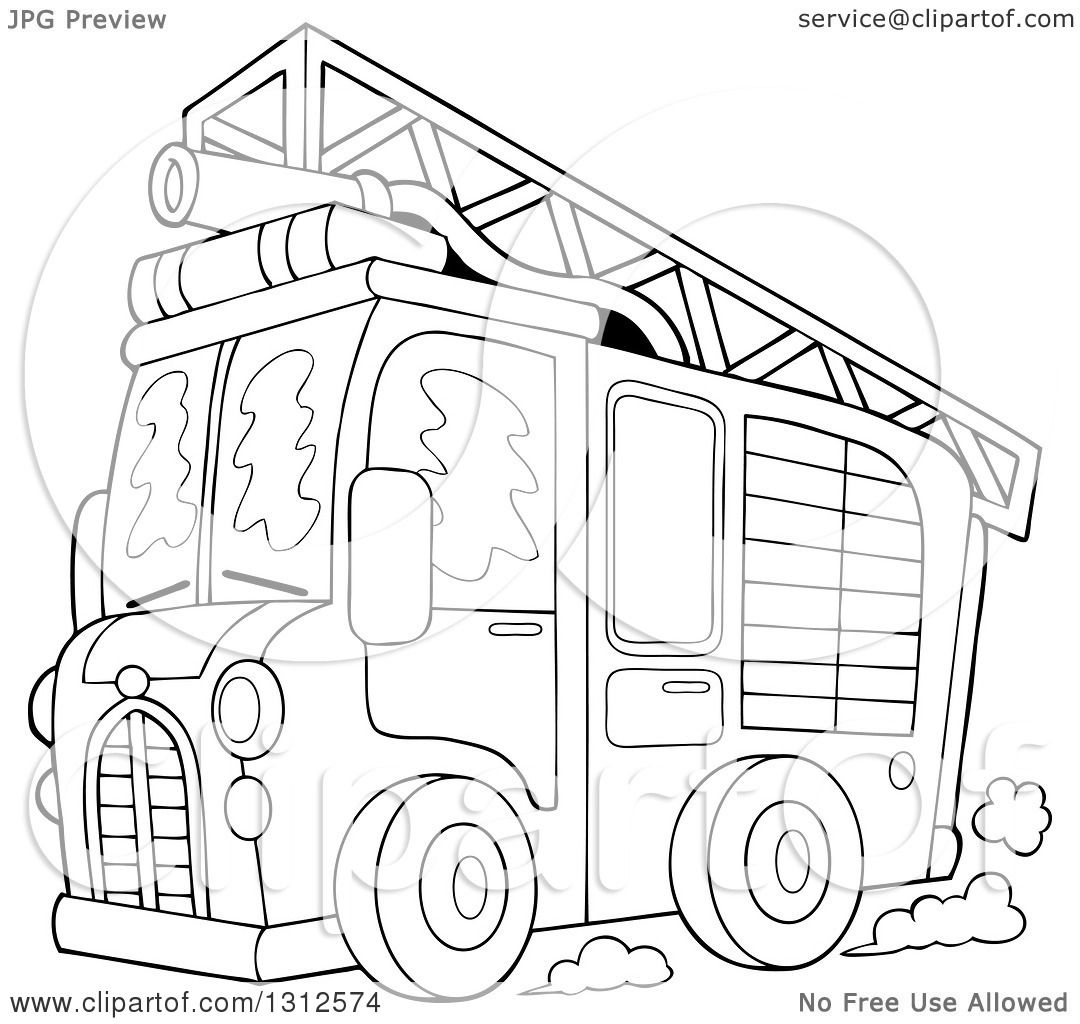 Lineart Clipart Of A Cartoon Black And White Fire Truck