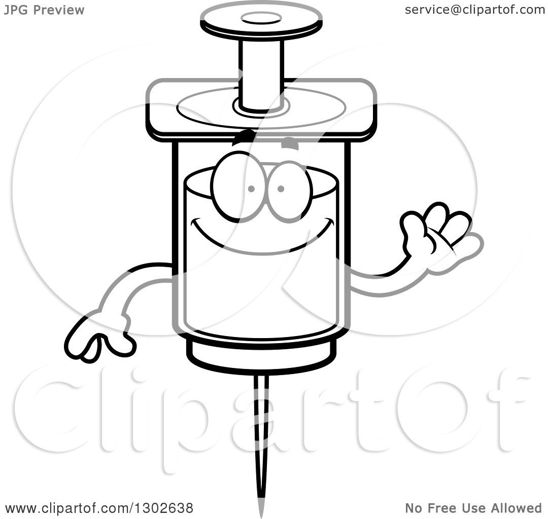 Lineart Clipart Of A Cartoon Black And White Friendly