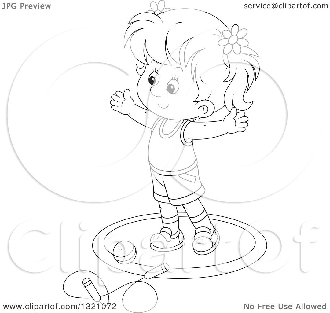 Lineart Clipart Of A Cartoon Black And White Girl Working