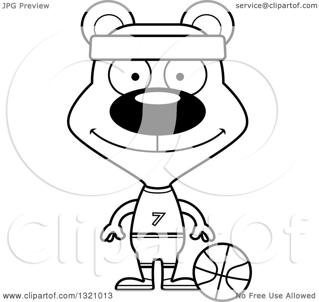 Lineart Clipart Of A Cartoon Black And White Happy Bear