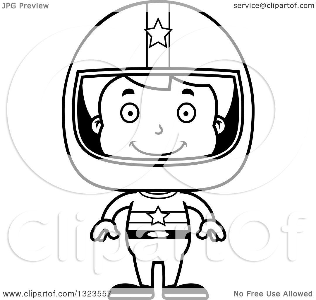 Lineart Clipart Of A Cartoon Black And White Happy Boy