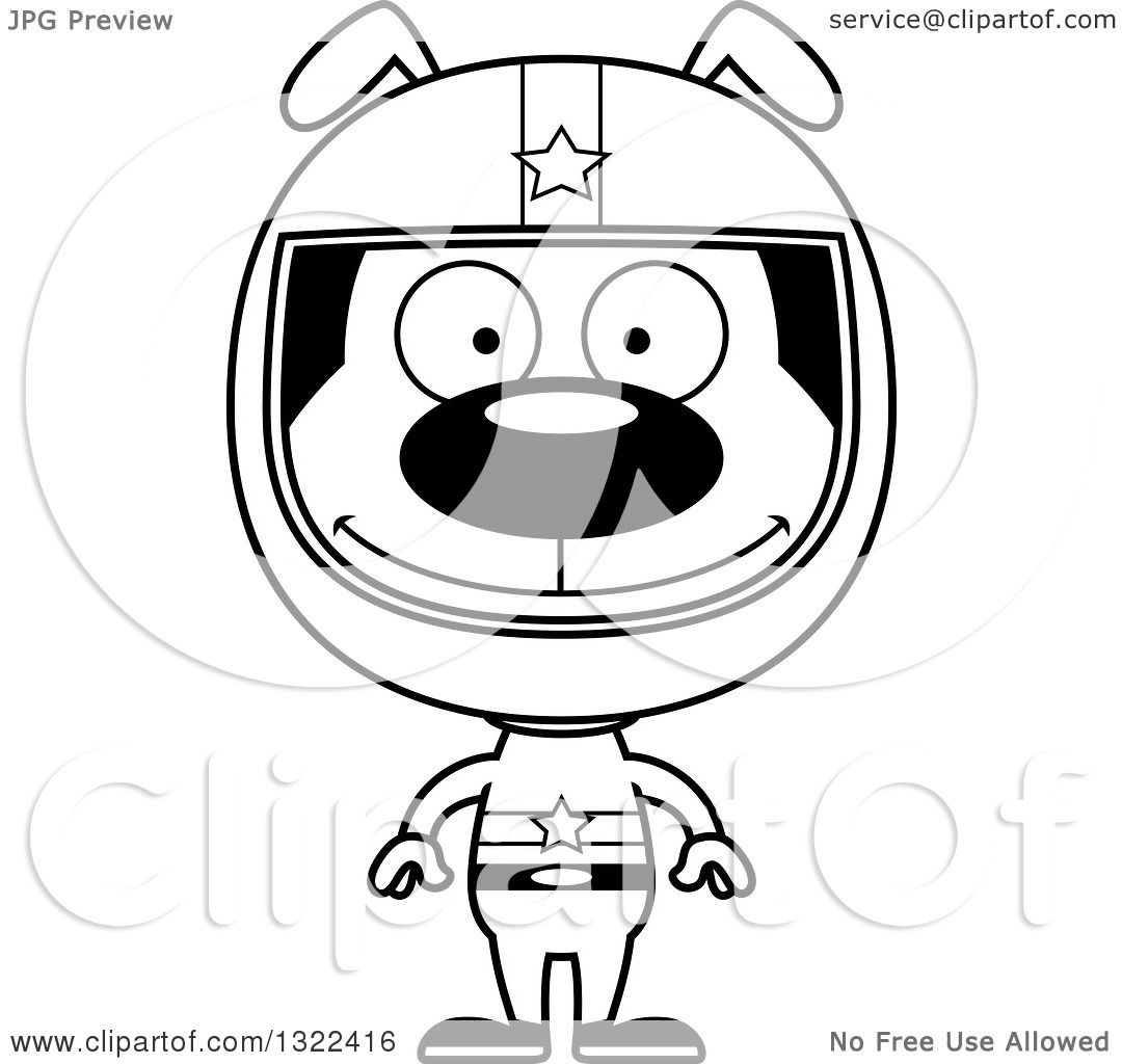 Lineart Clipart Of A Cartoon Black And White Happy Dog Race Car Driver