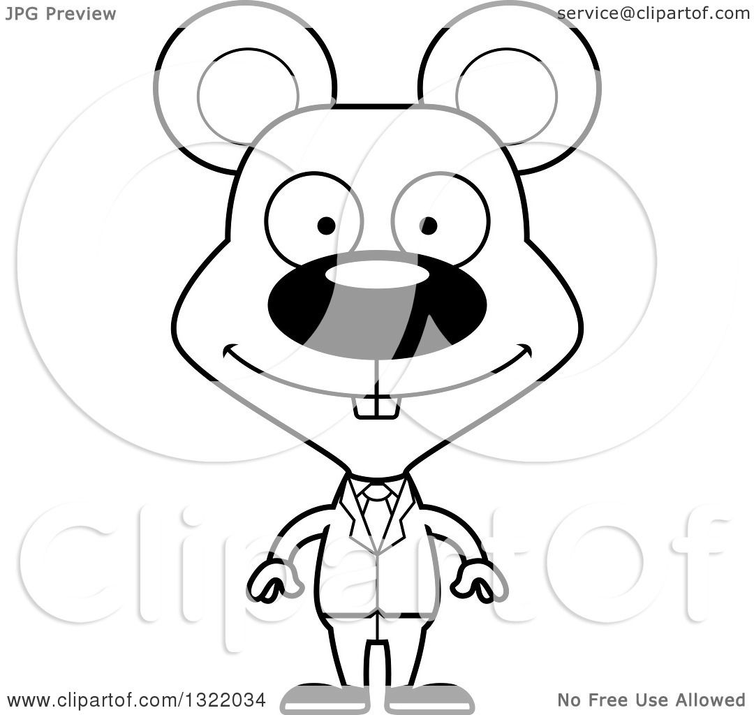 Lineart Clipart Of A Cartoon Black And White Happy Mouse