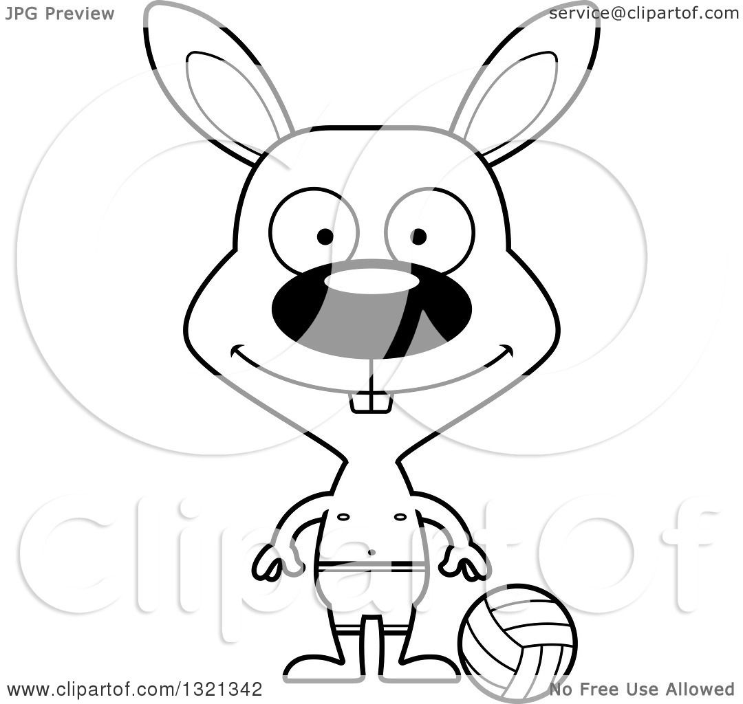 Lineart Clipart Of A Cartoon Black And White Happy Rabbit