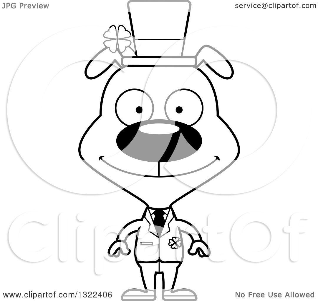 Lineart Clipart Of A Cartoon Black And White Happy St Patricks Day Irish Dog