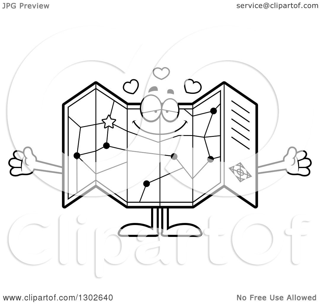 Lineart Clipart Of A Cartoon Black And White Loving Road
